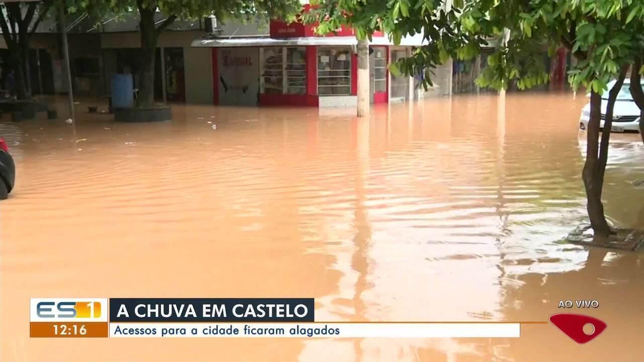 Castelo amanhece debaixo d'água após chuva no ES