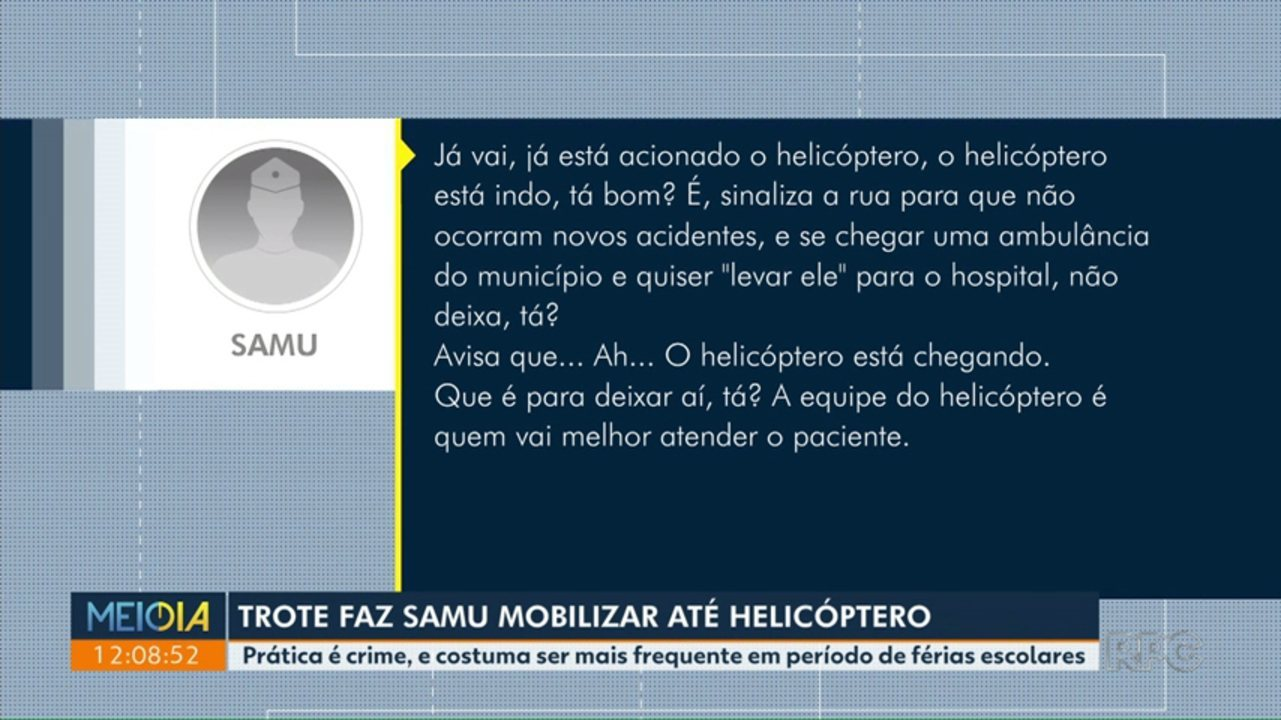 Trote mobiliza helicóptero do Samu