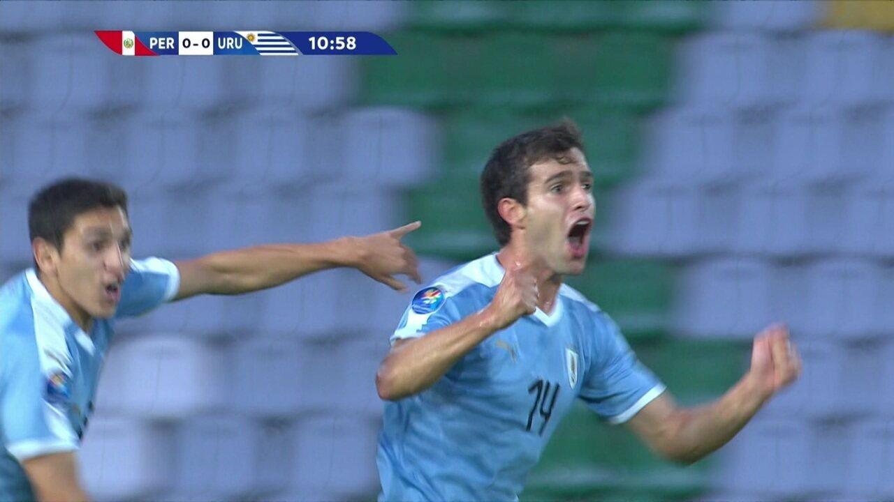 O gol de Peru 0 x 1 Uruguai pelo Pré-Olímpico