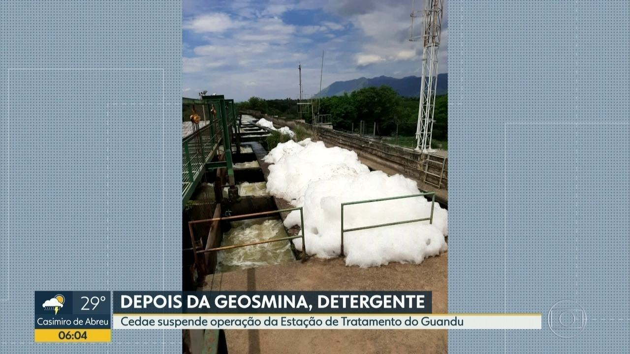 Captação de água é suspensa após Cedae identificar detergente no Guandu