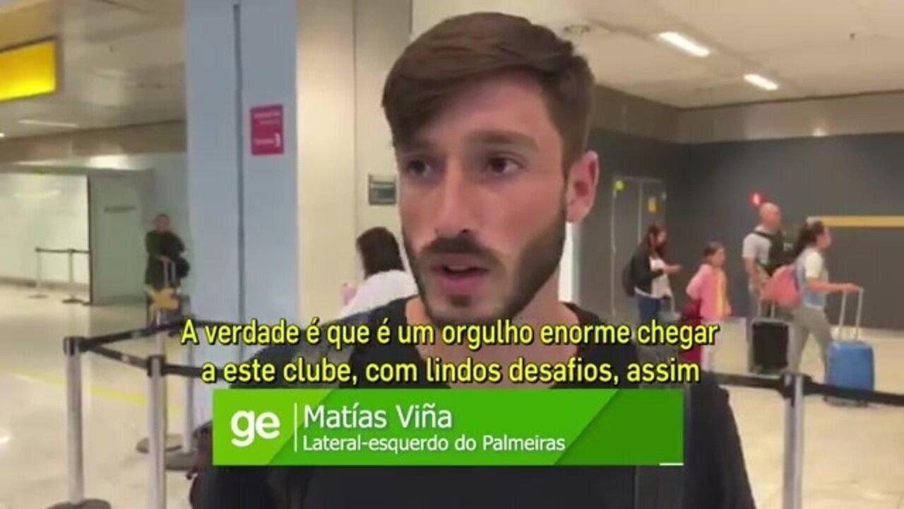 Assista à entrevista de Matías Viña, do Palmeiras, na chegada ao Brasil