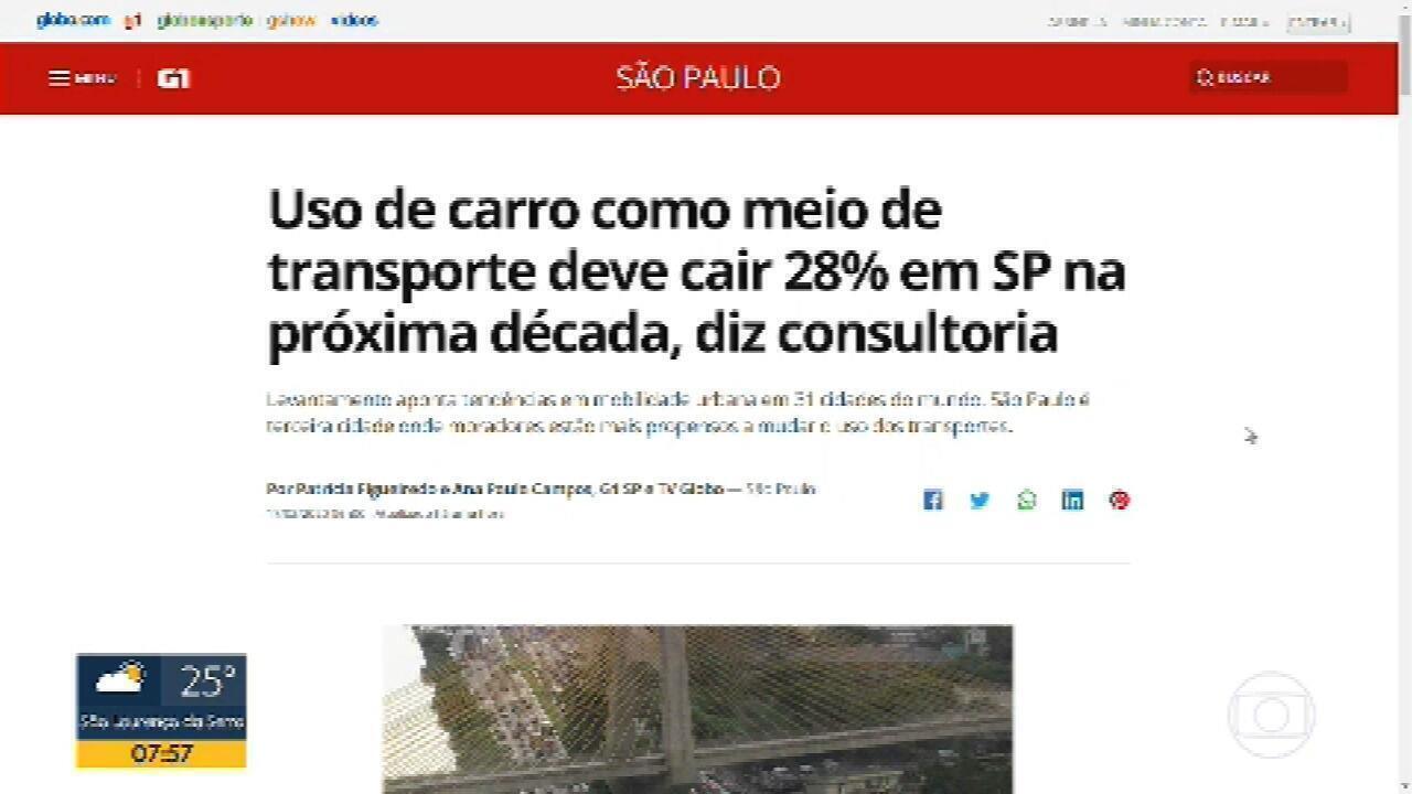 Uso de carro como meio de transporte deve cair 28% na próxima década em São Paulo