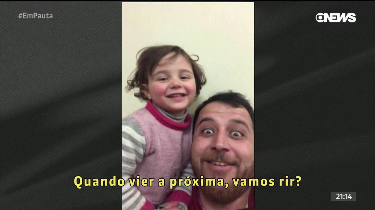Olhar Em Pauta: Pai sírio brinca para tentar amenizar os horrores da guerra para a filha