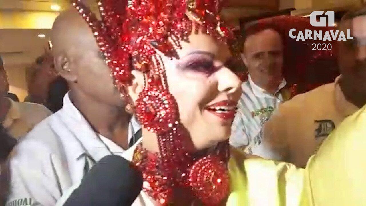 Viviane Araújo explica fantasia que vai usar em desfile da Mancha Verde