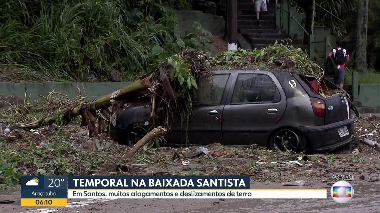 Deslizamentos na Baixada Santista causam estragos e prejuízos a população.