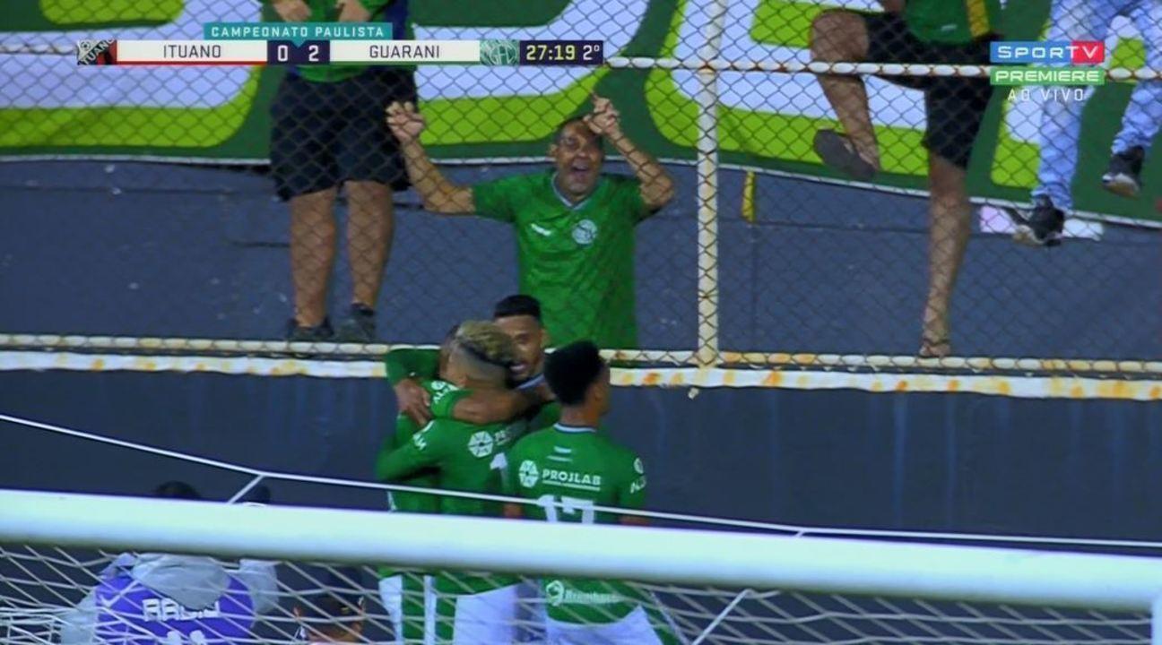 Gol do Guarani! Giovanny cruza e Todinho manda para o gol aos 27' do 2º