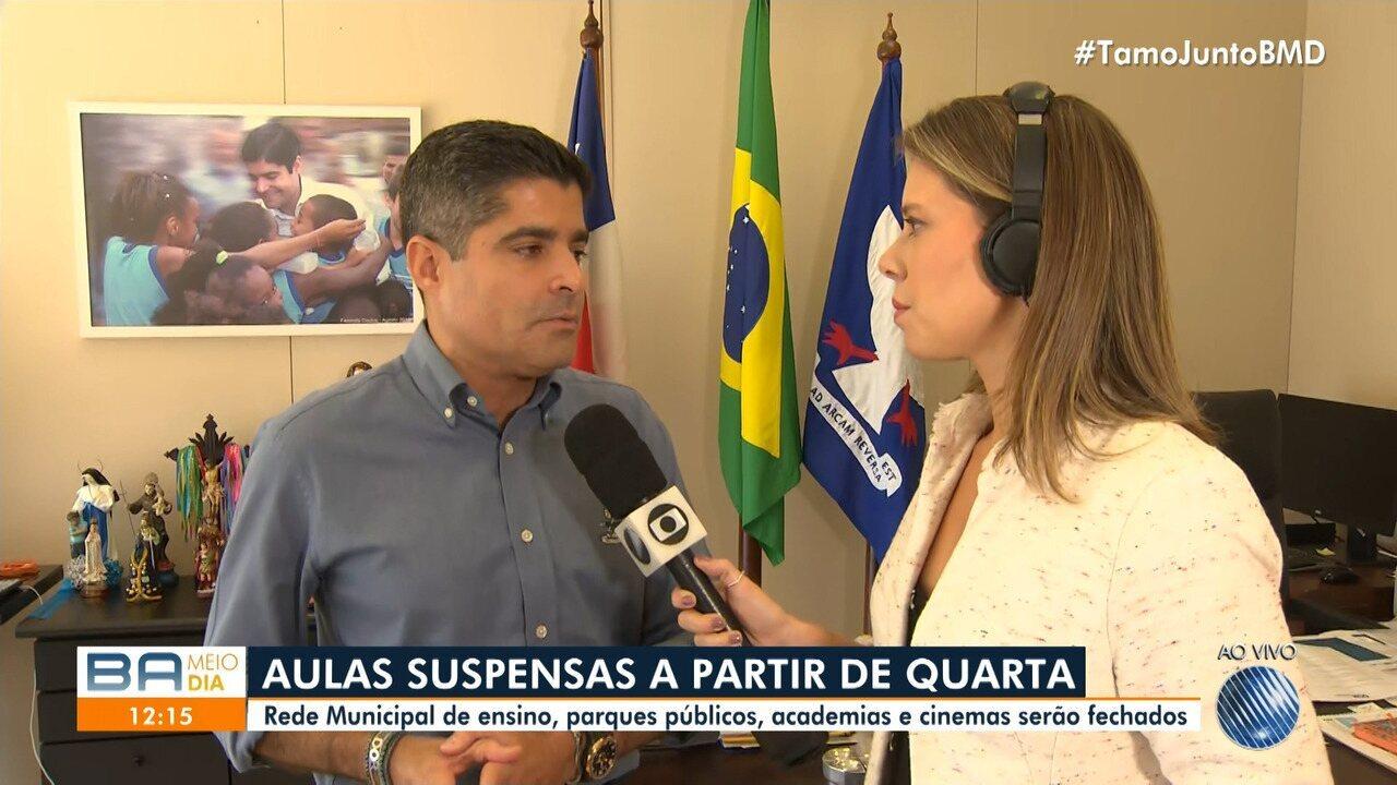 Coronavírus: Prefeitura de Salvador determina suspensão das aulas a partir de quarta-feira