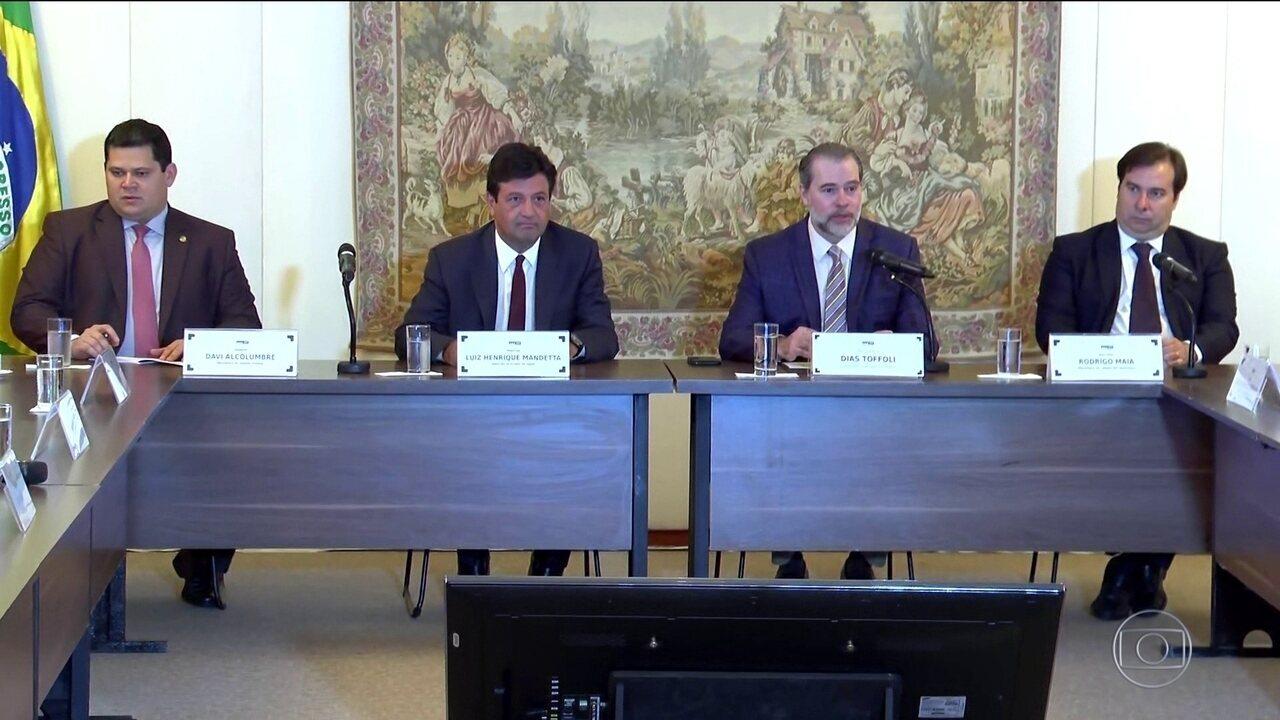 Presidentes do STF, da Câmara e do Senado se reúnem com ministro da Saúde