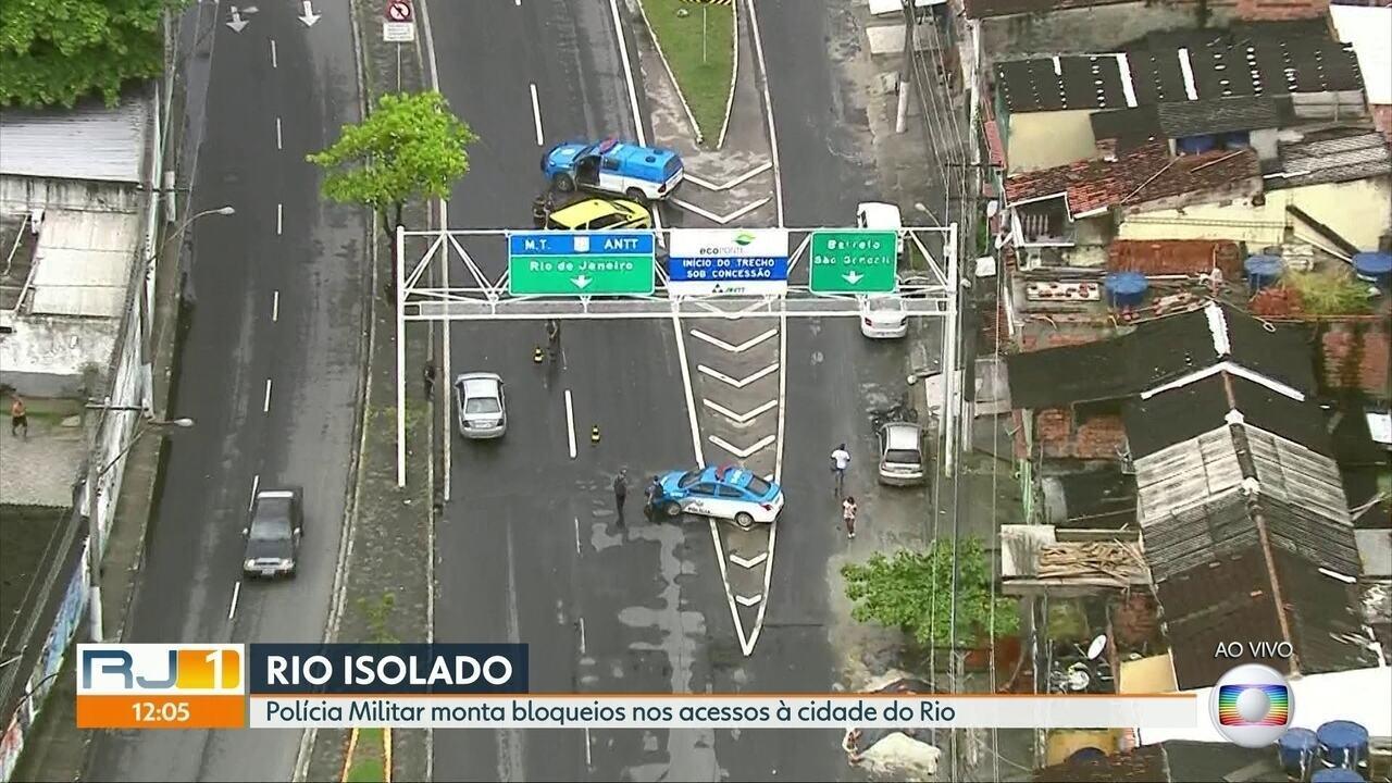 Polícia Militar monta bloqueios nos acessos ao Rio durante crise do coronavírus