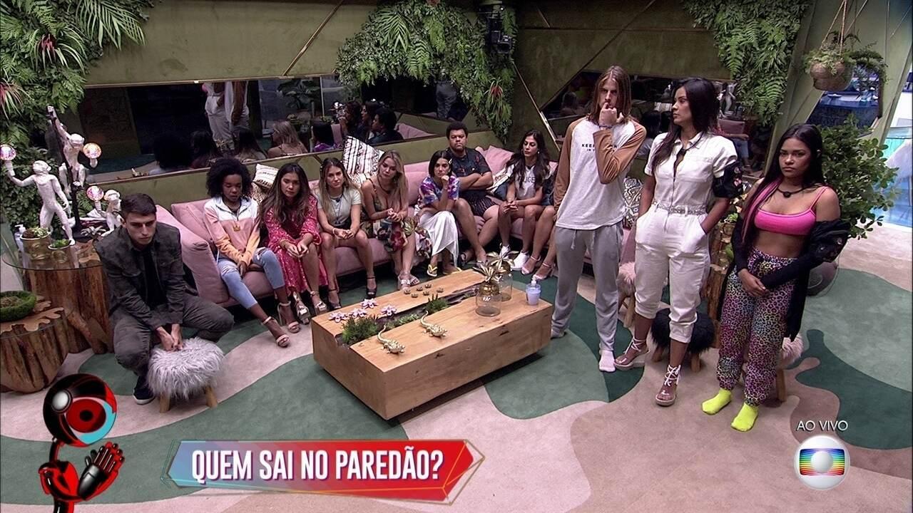 Marcela, Felipe, Thelma e Mari dão seus palpites para o Paredão no Jogo da Discórdia