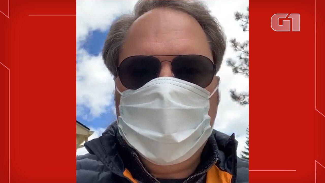 Casal de brasileiros fala que estão usando máscaras sempre que sai de casa nos EUA