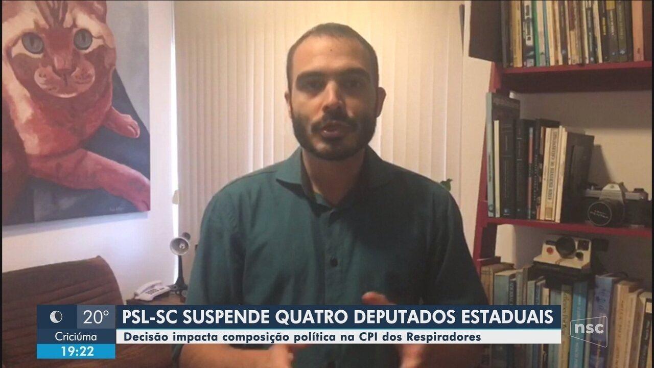 PSL-SC suspende quatro deputados; decisão afeta CPI dos Respiradores