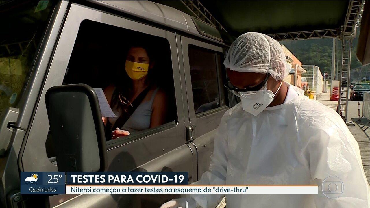 """Niterói começa a fazer testes da Covid-19 no esquema de """"drive-thru"""""""
