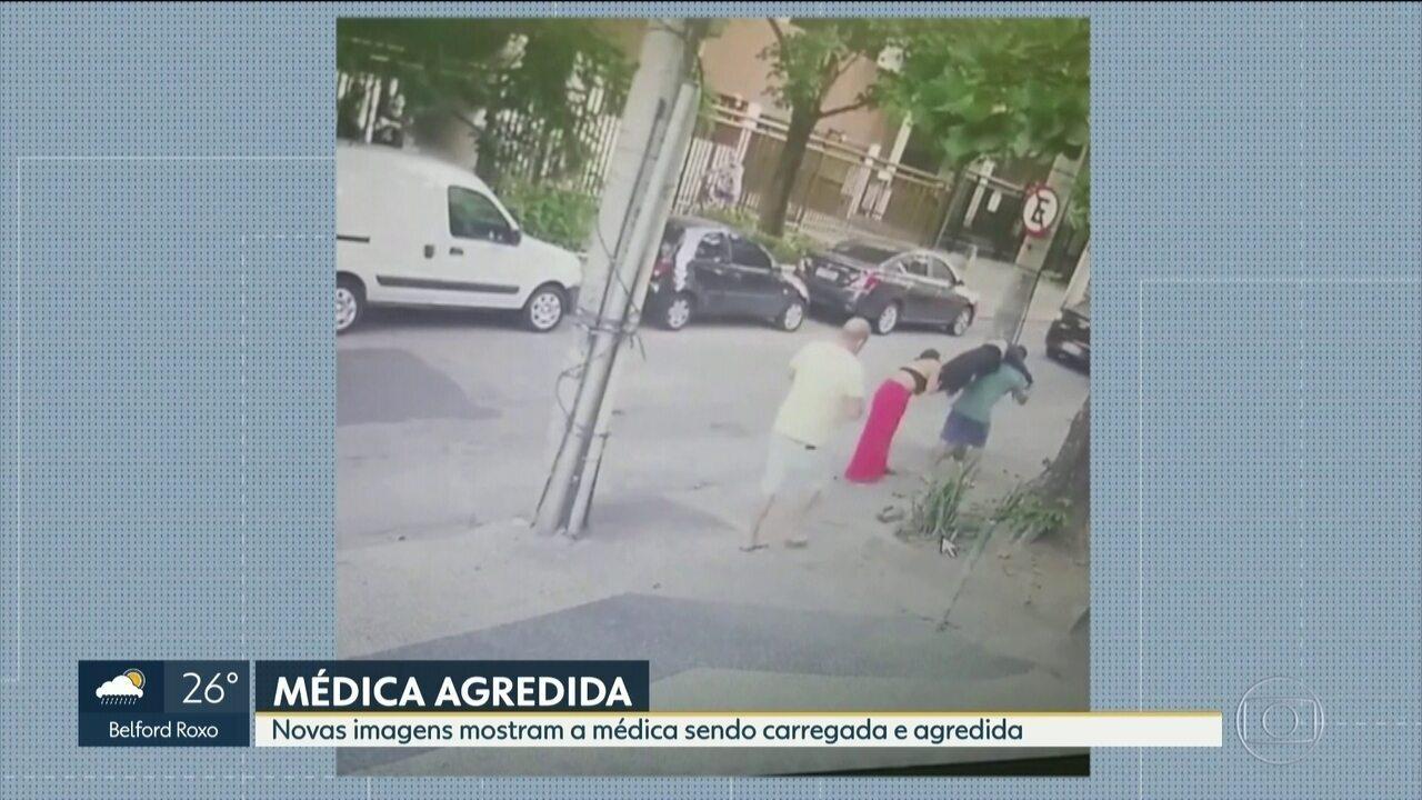 Novas imagens mostram médica sendo carregada e agredida