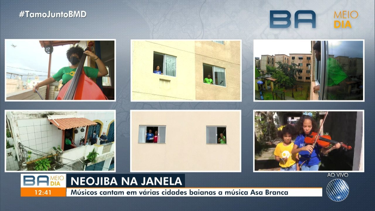 Músicos da orquestra Neojibá cantam a mesma música em Salvador e interior da BA