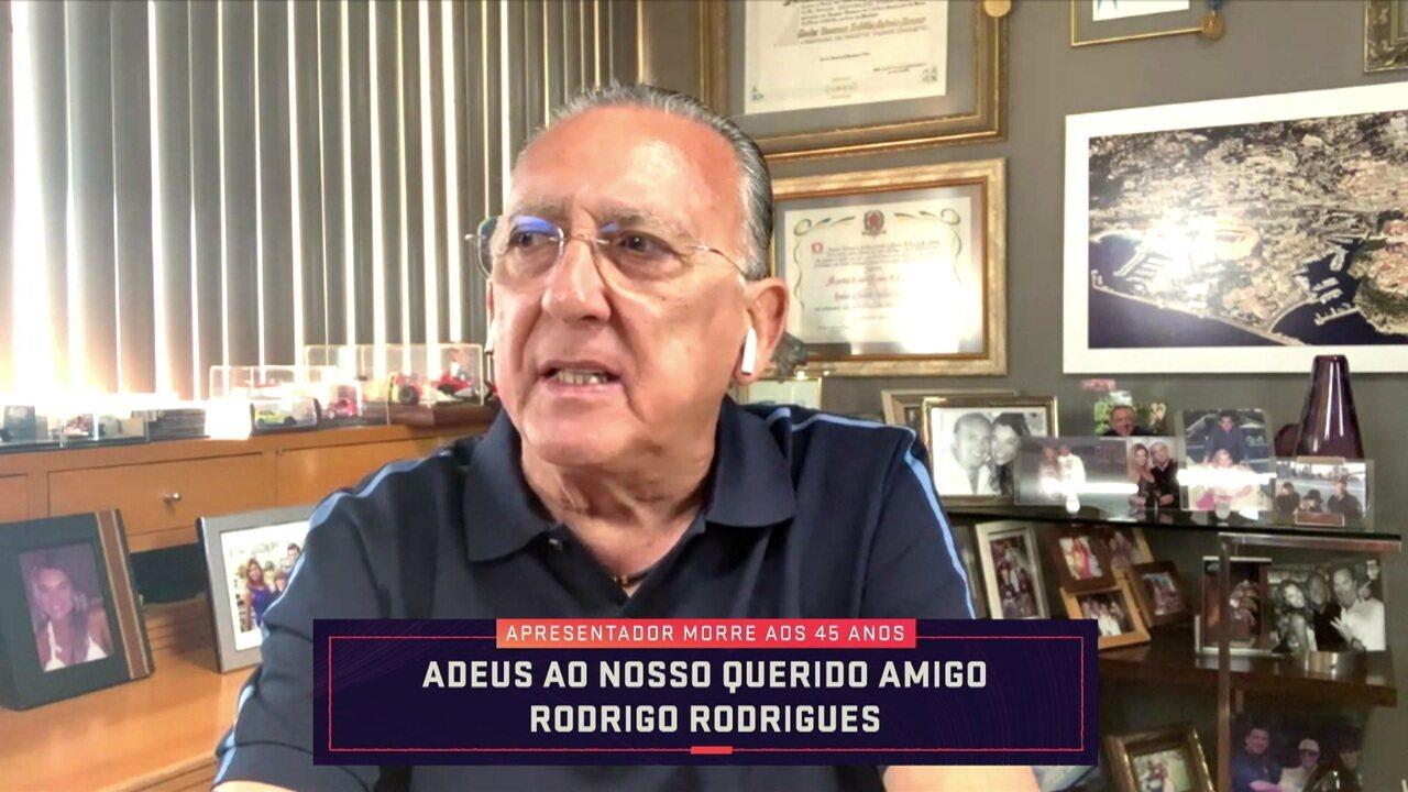 """Galvão Bueno lembra primeira interação e rasga elogios a Rodrigo Rodrigues: """"Sempre foi bom demais"""""""