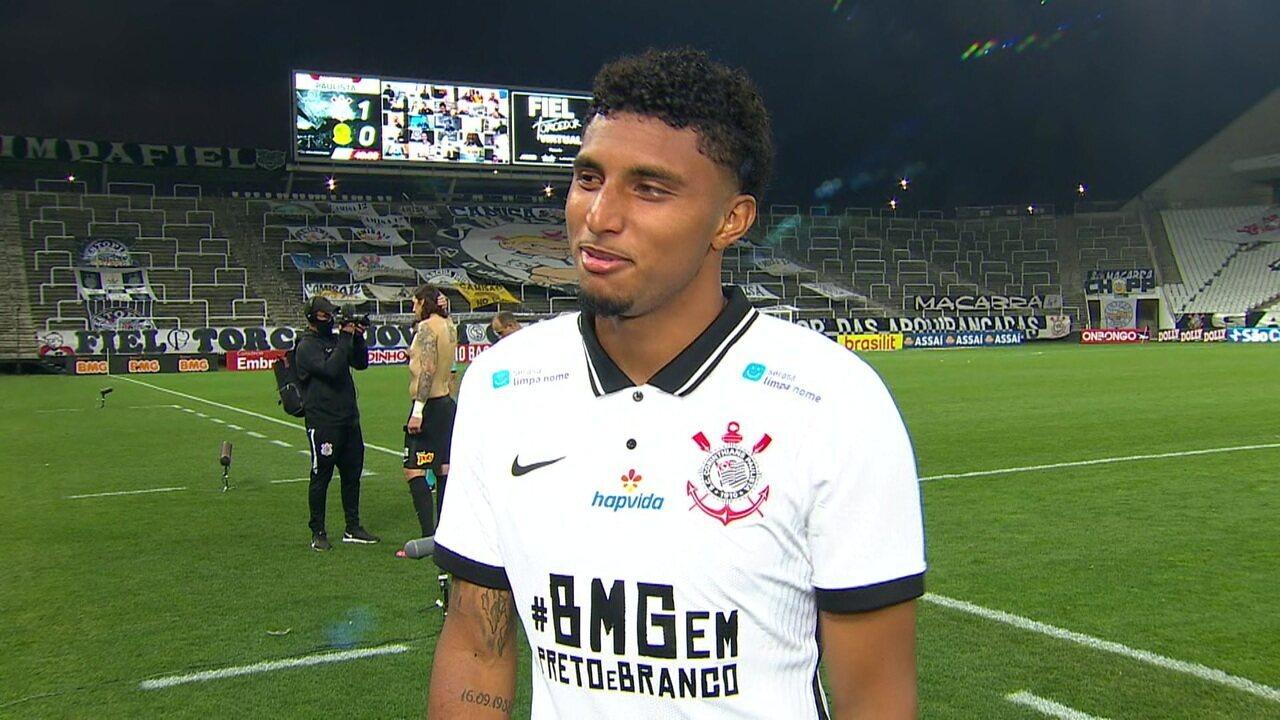 """Autor do gol da vitória, Ederson afirma que não esperava começo tão bom no Corinthians: """"Três gols em sequência"""""""