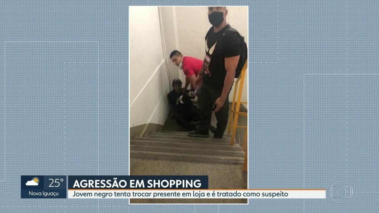 Polícia tenta identificar 2 homens que agrediram jovem em shopping da Ilha do Governador