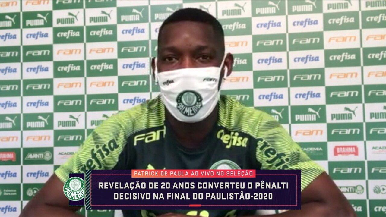 """Revelação de 20 anos, Patrick de Paula fala sobre pênalti decisivo do título do Palmeiras: """"Pedi para bater"""""""