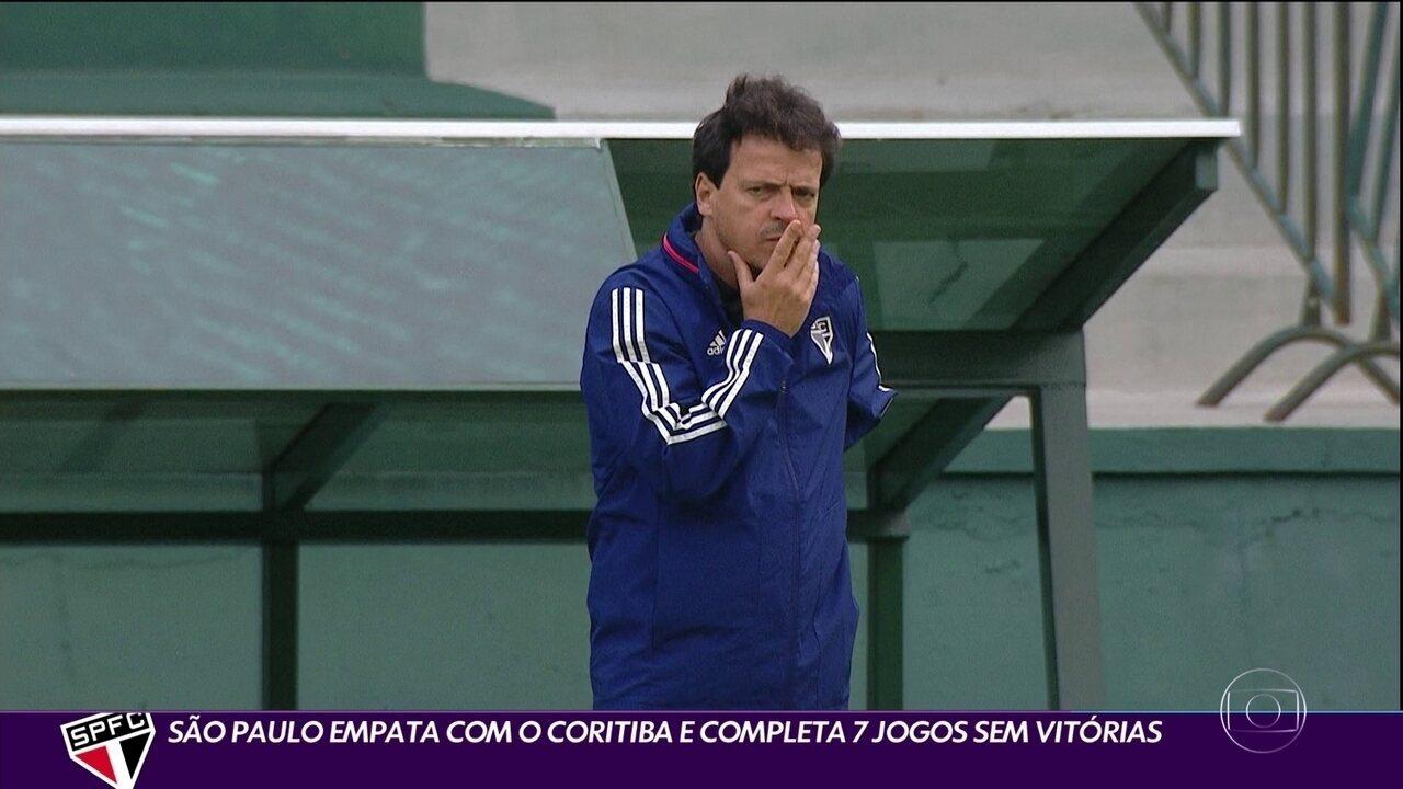 São Paulo empata com o Coritiba e completa sete jogos sem vitórias