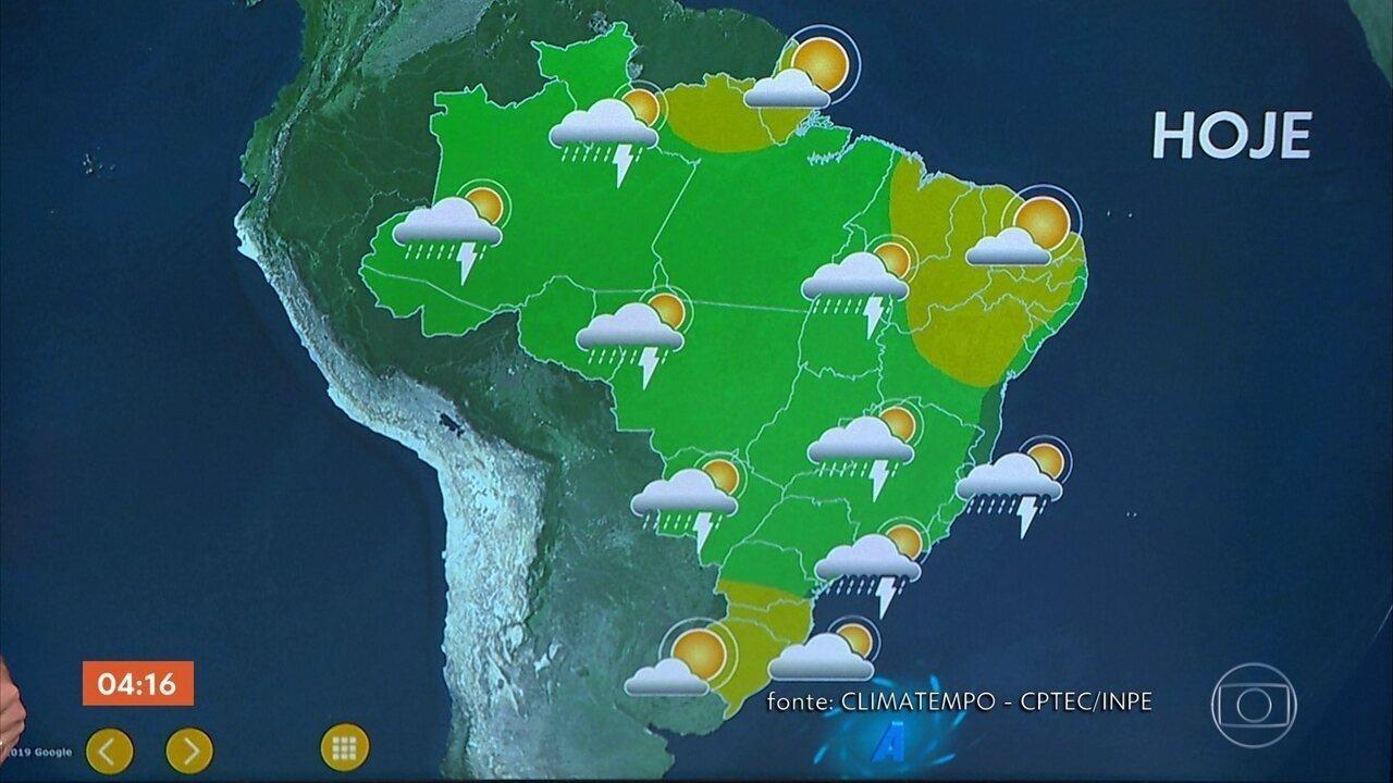 Chuva se espalha do Norte até o Sudeste do Brasil por causa da circulação de ventos úmidos