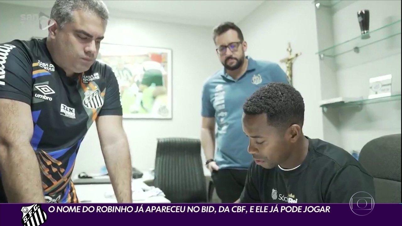 O nome do Robinho já apareceu no BID, da CBF, e ele já pode jogar