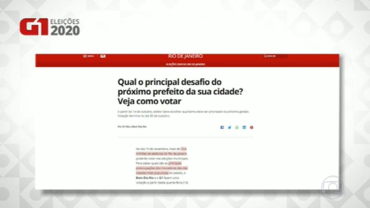 Votação quer saber as principais preocupações dos moradores das 10 cidades mais populosas do RJ