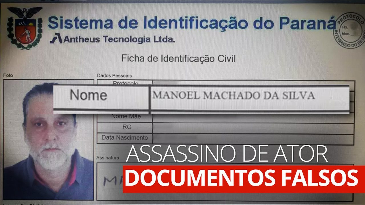 Paulo Cupertino, assassino de ator, usa identidade falsa de 'Manoel Machado da Silva'