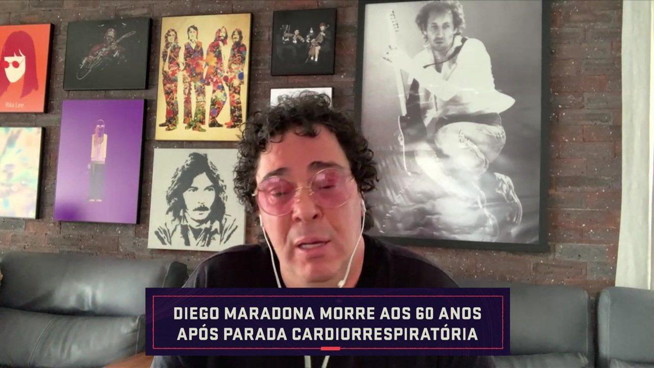 """Casagrande se emociona muito ao falar sobre a morte de Maradona: """"Podia ser eu"""""""