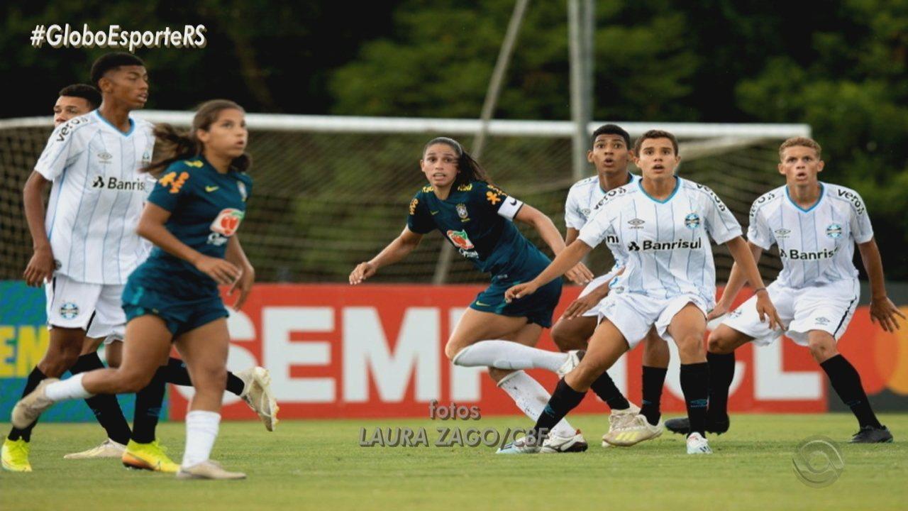 Garotos do sub-16 do Grêmio vencem amistoso com a Seleção Brasileira Feminina