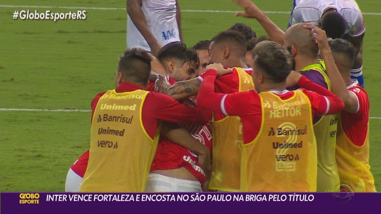 Inter vence o Fortaleza e enconsta no São Paulo na briga pelo título do Brasileirão