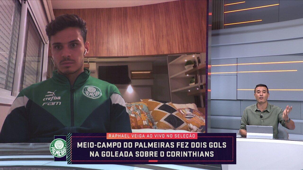 Raphael Veiga, meia do Palmeiras, fala sobre a fase do time e a goleada sobre o Corinthians
