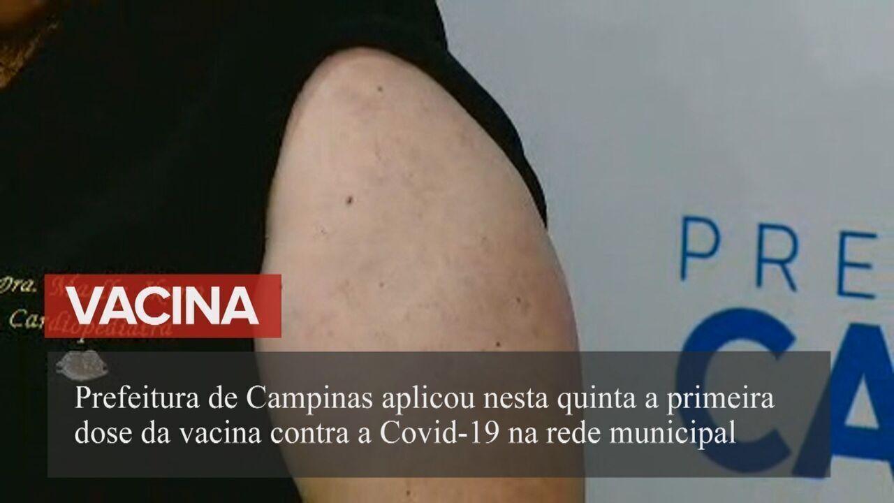 Campinas aplica primeira vacina contra Covid-19 na rede municipal
