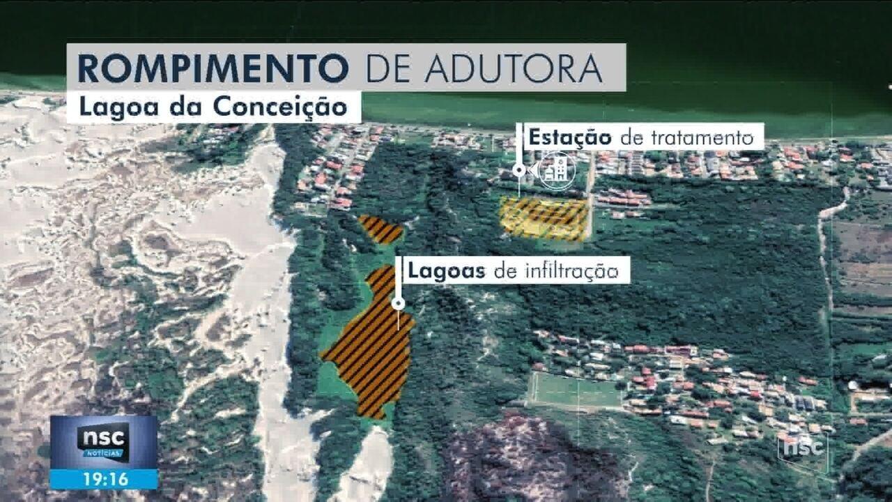 Lagoa da Casan rompe e enxurrada atinge residências na Lagoa da Conceição