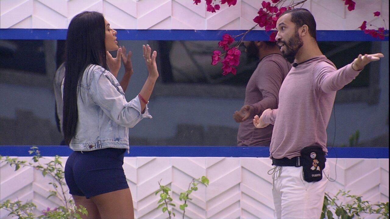 No BBB21, Pocah e Gilberto discutem depois do Jogo da Discórdia