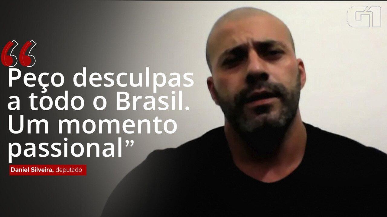 """""""Peço desculpas a todo o Brasil. Um momento passional"""", diz deputado Daniel Silveira"""