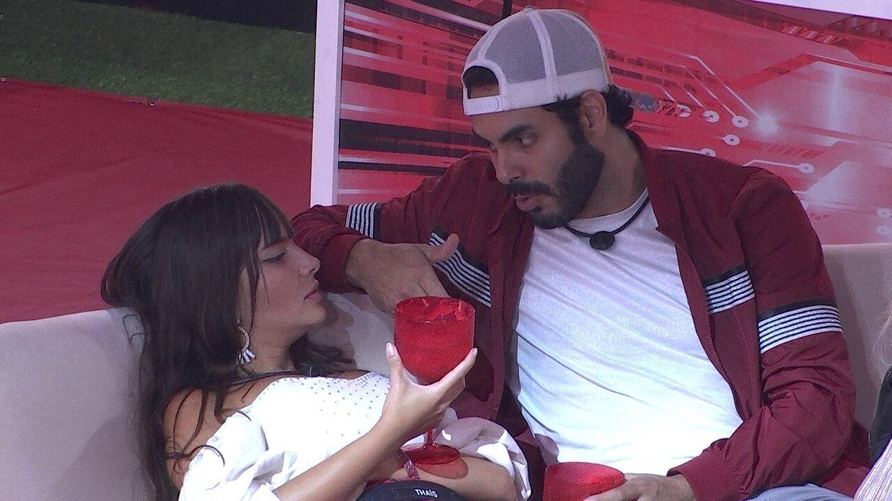 Rodolffo diz para Thaís sobre Paredão entre Projota e sister: 'Não acho que você sai'