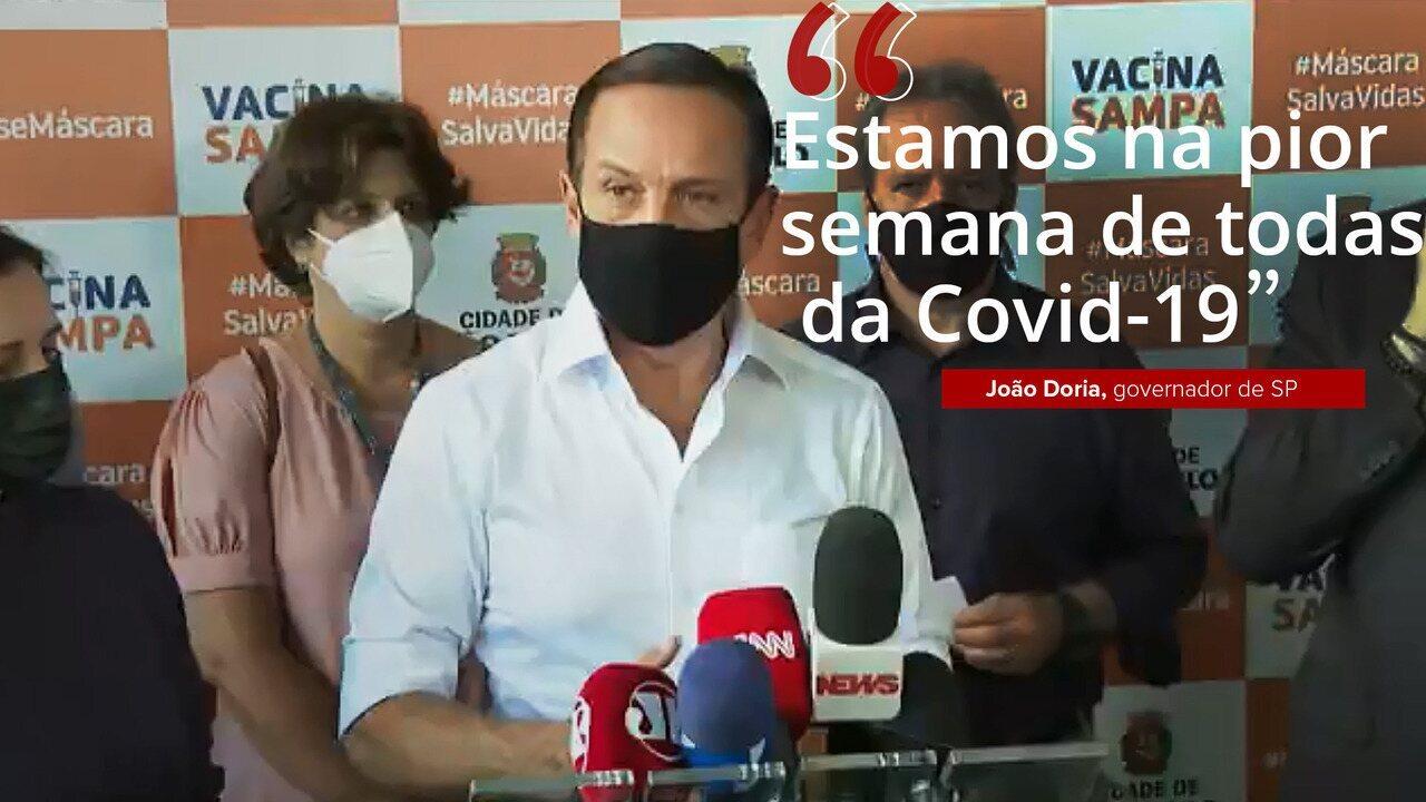 VÍDEO: 'Estamos na pior semana de todas as semanas da Covid-19', afirma João Doria