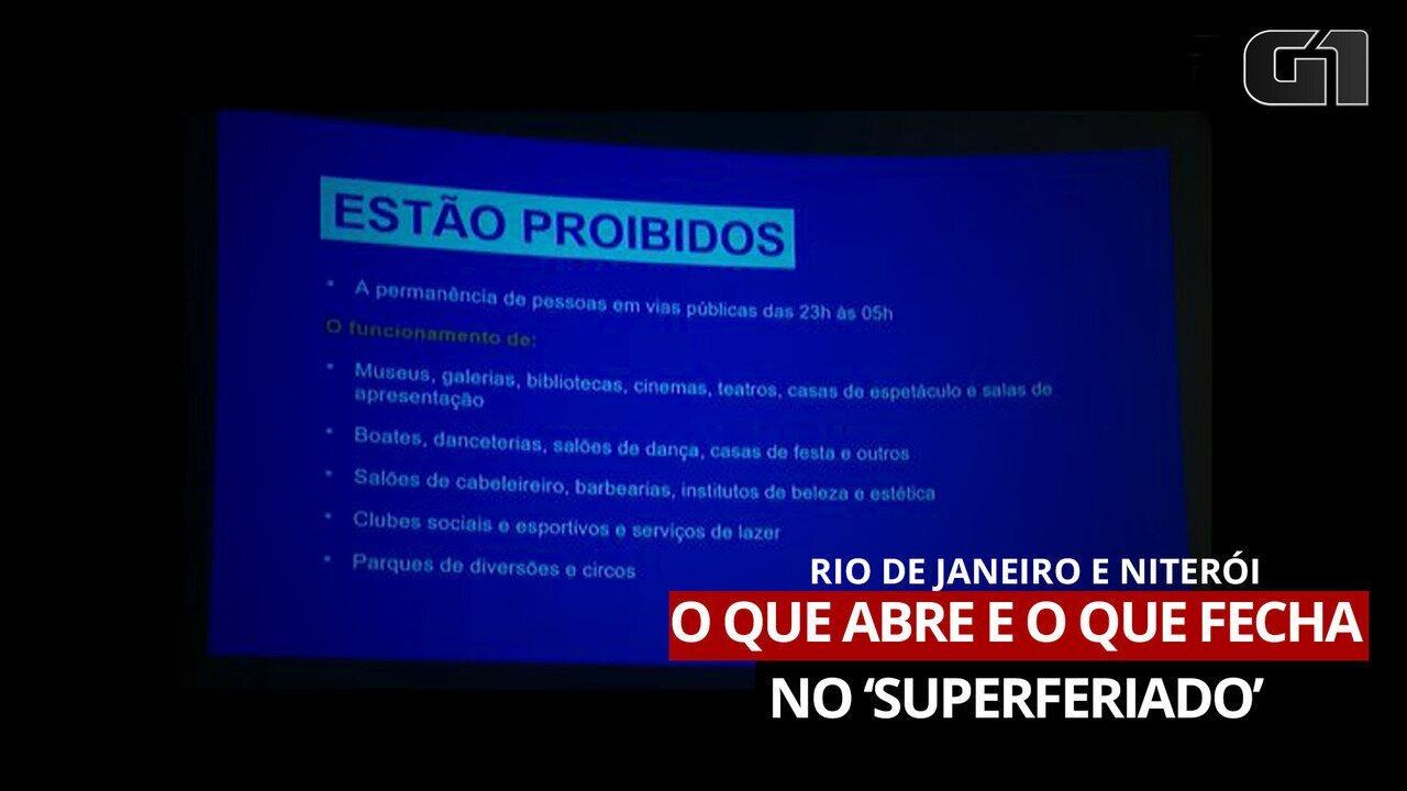 Vídeo: Rio e Niterói fecharão escolas, bares e restaurantes durante 'superferiado'