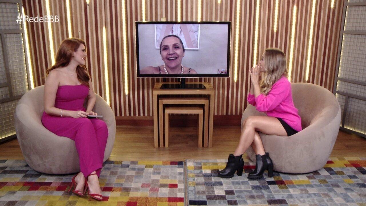 No Bate-Papo BBB, mãe de Carla Diaz se diz orgulhosa e atriz brinca: 'Arrasando na live'
