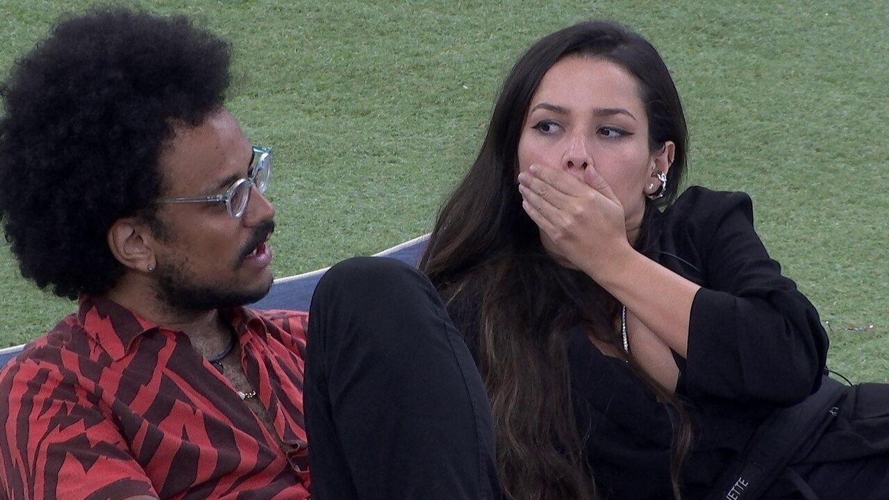 João Luiz fala para Juliette conversar com Pocah e esclarecer assunto no BBB21