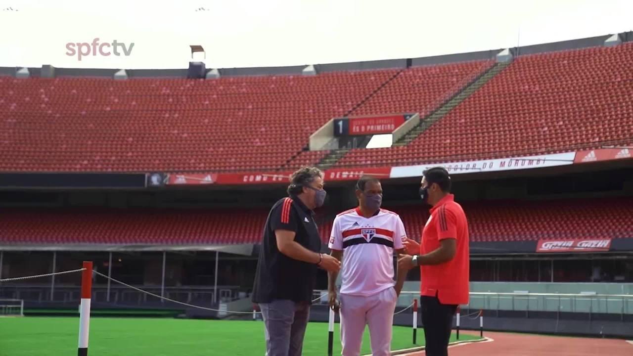 Eder é recepcionado por Müller no São Paulo