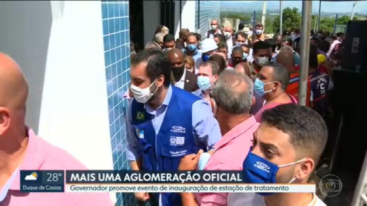 Claudio Castro permite inaugurações no RJ e abre reservatório em Caxias