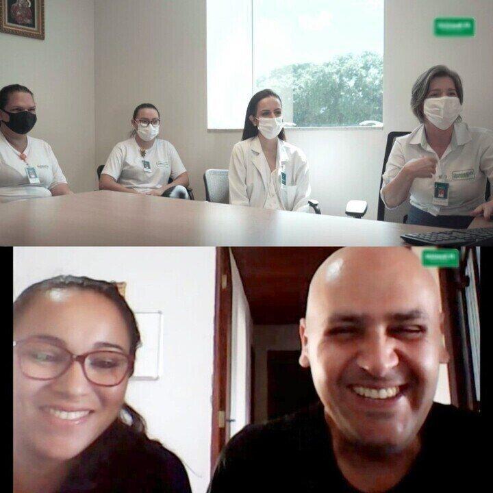 Paciente que venceu a Covid em MS faz videochamada com equipe que cuidou dele por 29 dias