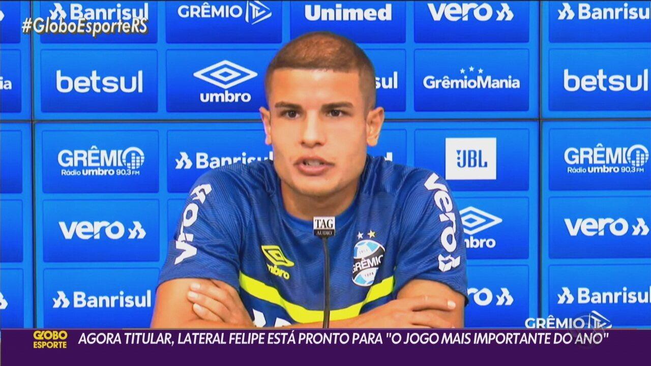 """Agora titular, o lateral Felipe se considera pronto para """"o jogo mais importante do ano"""""""