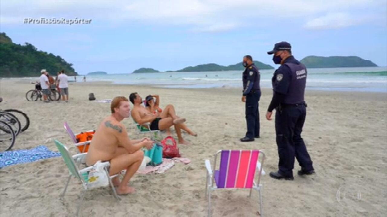 No litoral paulista, agentes fiscalizam movimento das praias durante feriado de 10 dias