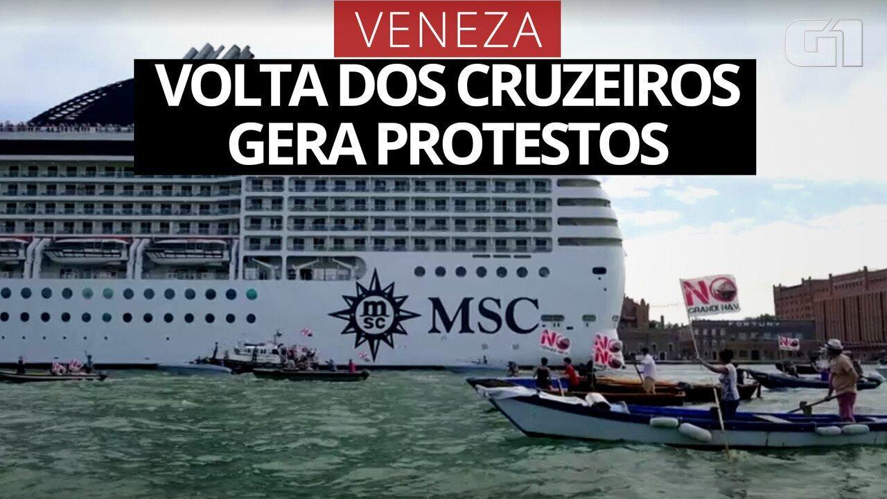 Volta dos cruzeiros em Veneza gera protestos