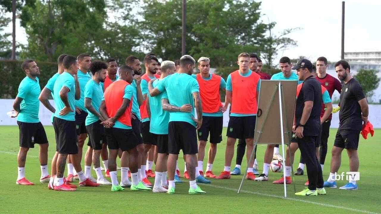 Seleção masculina faz primeiro treino com grupo completo antes das Olimpíadas