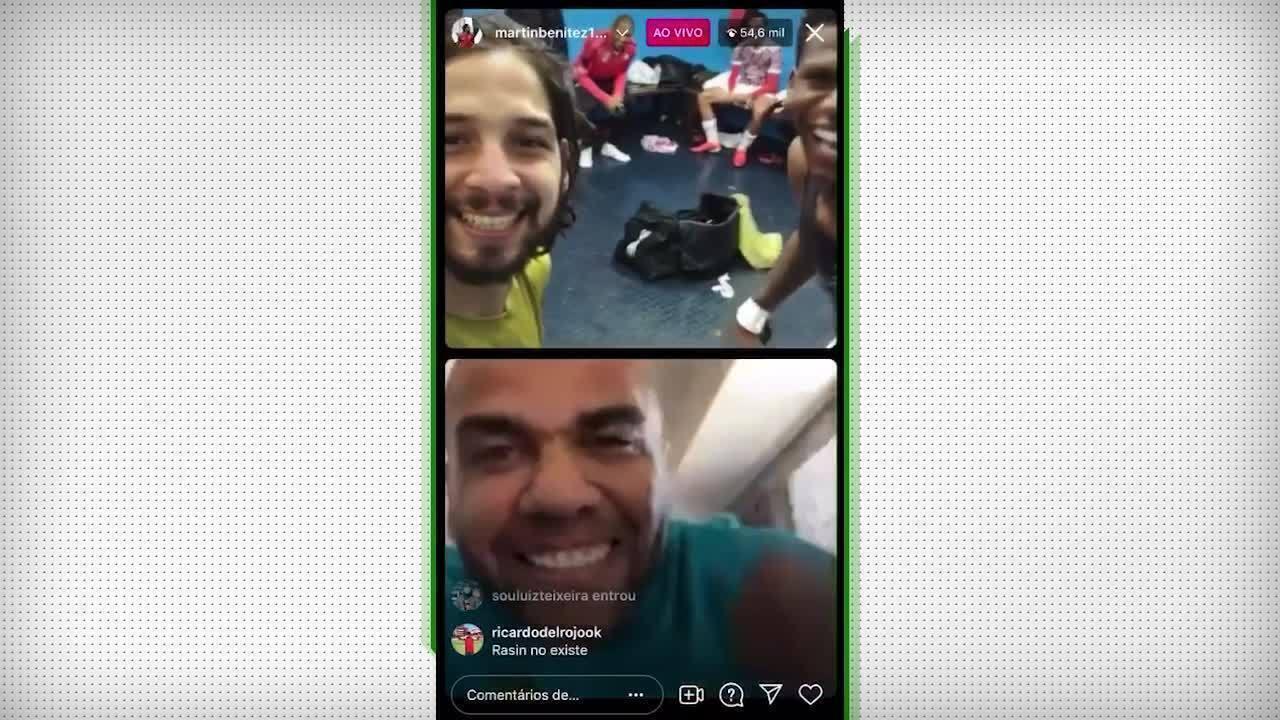 Daniel Alves comemora classificação do São Paulo em live com Benítez